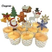 10Pcs Christmas Tree Santa Deer Bell Snowflake Cake Topper Xmas