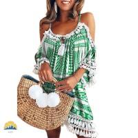 Women Off Shoulder Tassel Dress Cocktail Party Beach Boho Short