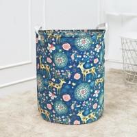 Keranjang laundry tempat baju kotor mainan lipat bahan linen motif