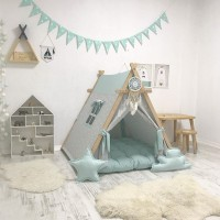 big size kids a frame play house teepee tent tenda anak light blue