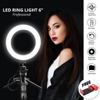 LED RING LIGHT 6 INCH WITH TRIPOD FOR SELFIE MAKE UP VLOG TIKTOK RINGL