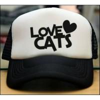 TOPI TRUCKER JARING COSTUM LOVE CATS - JASPIROW SHOPPING