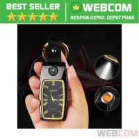 Gantungan Kunci Jam Korek Api Elektrik Lighter LED Light Rechargeable