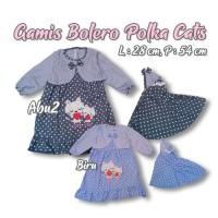 Gamis Baju Bayi Muslim Anak Perempuan Polkadot Cat Love Pita Bolero