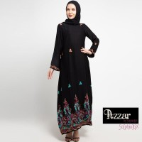 AZZAR Zel Maxi Dress In Black With Green Pink Embroidery