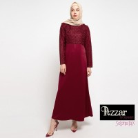 AZZAR Emma Maxi Dress In Maroon With Lace
