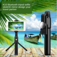 K10 Tongsis Bluetooth + Tripod Plus Cermin Cocok Live Streaming Zoom