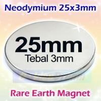 Strong Magnet Neodymium 25x3mm Silinder 25x3 mm 25mm x 2mm N52 Glossy