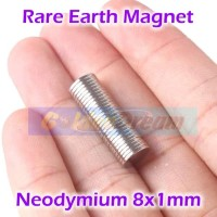 Strong Magnet Neodymium 8x1mm Silinder Kilap 8x1 mm 8mm x12mm N52