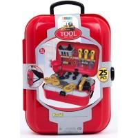 Mainan Anak Laki Tool Case Play Set Alat Tukang Palu Koper Trolley