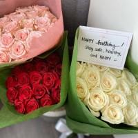 Kado Buket Bunga Mawar Segar/ Fresh Roses - White Avalanche