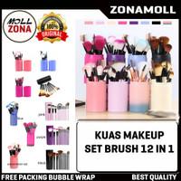 Kuas Make Up Brush Set 12 in 1 / Alat Makeup Kosmetik Tabung Lengkap