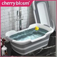 Bak Mandi Bayi Lipat Foldable Baby Bathtub Shower Portable Kolam Baby - Abu-abu