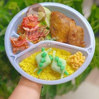 Mika Bento PB 2in1 PUTIH plus sendok/Tray Bento Sekat/ Lunch box bento