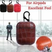 Case Cover Kulit Asli Shockproof untuk Apple airpods & Kunci