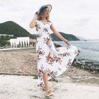 Long Summer Beach Dress Women Sexy Deep V Floral Chiffon Maxi Dress