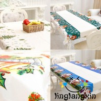Rs♪-Christmas Tablecloth Xmas Home Table Cover Kitchen Party