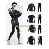 Kaos T-Shirt Compression Ketat Pria untuk Olahraga / Fitness /