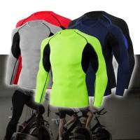Kaos T-Shirt Olahraga Pria Compression Lengan Panjang untuk Gym /