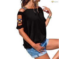 Women Cold Shoulder Hollow Sleeve T-Shirts Blouse Tops for Summer