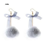 Richu_Cute Women Ornament Pompom Fluffy Ball Bowknot Hook Earrings