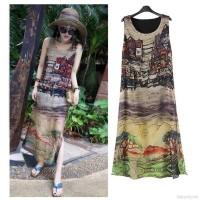 Women Sleeveless Casual Summer Beach Long Maxi Dress