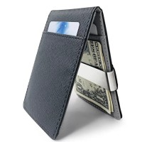 PU Card Holder Flip Wallet with Stainless Clip Dompet Kartu Pria