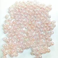 Manik-manik plastik bola pink bening pelangi 6mm (20gr)