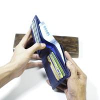 dompet kulit asli pria 100 % kulit asli warna biru