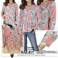 Blouse Wanita Branded- 25779- 23aa-sol- red striped mix floral