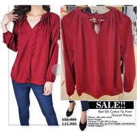 Blouse Wanita Branded- 26173- 26174- 23aa-old-mr- red silky cotton