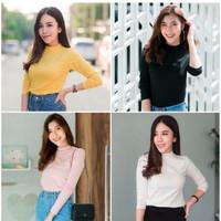 Baju Kaos Wanita Mangset Sabyan Polos / Long Sleeve Bahan Spandex