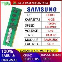 RAM PC SAMSUNG DDR3 4GB 10600 / 1333 MHz ORI RAM KOMPUTER RAM PC 1.5v
