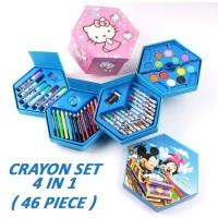 Crayon Set Karakter 4 in 1 Isi 46 - Alat Perlengkapan Menggambar
