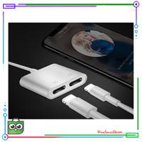 Adaptor Konverter Dual Konektor Audio iPhone 7 8 Plus XS Max Lightnin