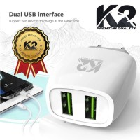 Batok Charger 2 Output merk K2-CH04 2A Support iphone & Android