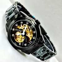 jam tangan Rolex Skeleton Automatic Full Black Grosir