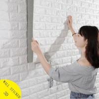 Wallpaper 3D Foam batu bata modern ukuran 70x77 wall sticker Interior