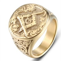 Gold Masonic AG Ring Jewelry High Quality Biker Jewelry Accessories