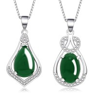 Wanita Kalung Jade Pirus Batu Akik Air-Drop Perhiasan Liontin