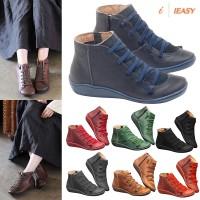 Gugur Sepatu Ankle Boots Wanita Lace-Up Bertali Bahan Kulit Gaya