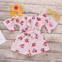 Baby Girls Jumpsuit Floral Print Half Sleeves Breathable Rompers for