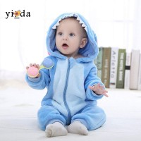 Piyama Anak Model Jumpsuit Hoodie Plush Desain Kartun Stitch Warna