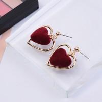 2018 Most Popular Pompom Balls Cute Enamel Long Heart Drop Earrings