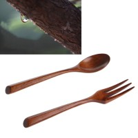 Set Wooden Dinner Spoon Salad Cooking Dining Utensil