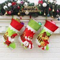 Ornamen Kaos Kaki Gantung Desain Natal Bahan Flanel Ukuran 45cm