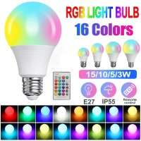 15W Lampu Bohlam LED RGB RGBW 16 Warna E27 Dimmable dengan Remote 24
