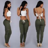 Celana Panjang Casual Wanita Polyester [S] [Hijau]