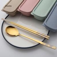 Set Sendok + Sumpit Portable Bahan Stainless Steel untuk Travel /