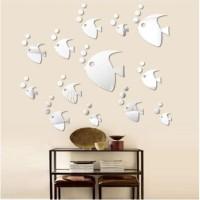 Stiker hias dinding dekorasi bentuk ikan gelembung cermin kado anak